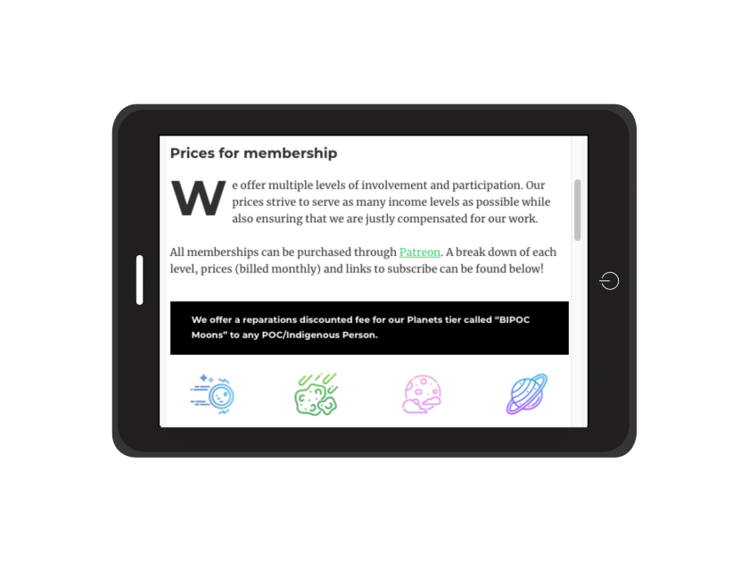 An apple tablet viewing the starsdance website