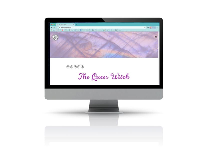 A mock up of Anna Joy Healing's homepage on an Apple Desktop computer