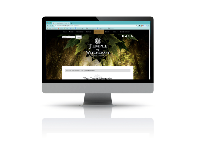 A mock up of Temple of Witchcraft homepage on an Apple Desktop computer
