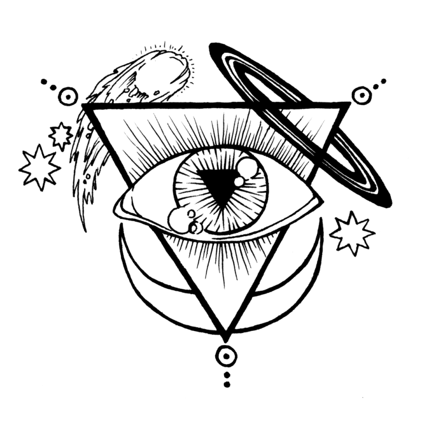 A line drawing of the mysterious and potent Starsdance Mystery School logo
