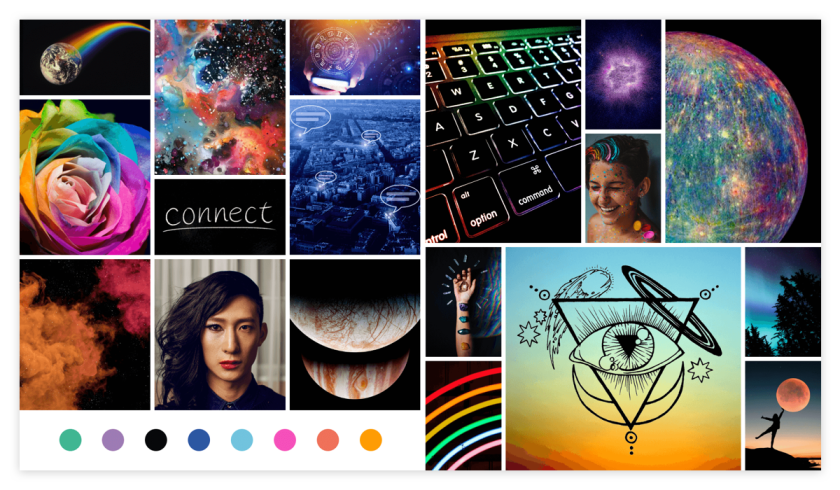 an array of images and HEX color codes that inspired starsdancemysteryschool.com