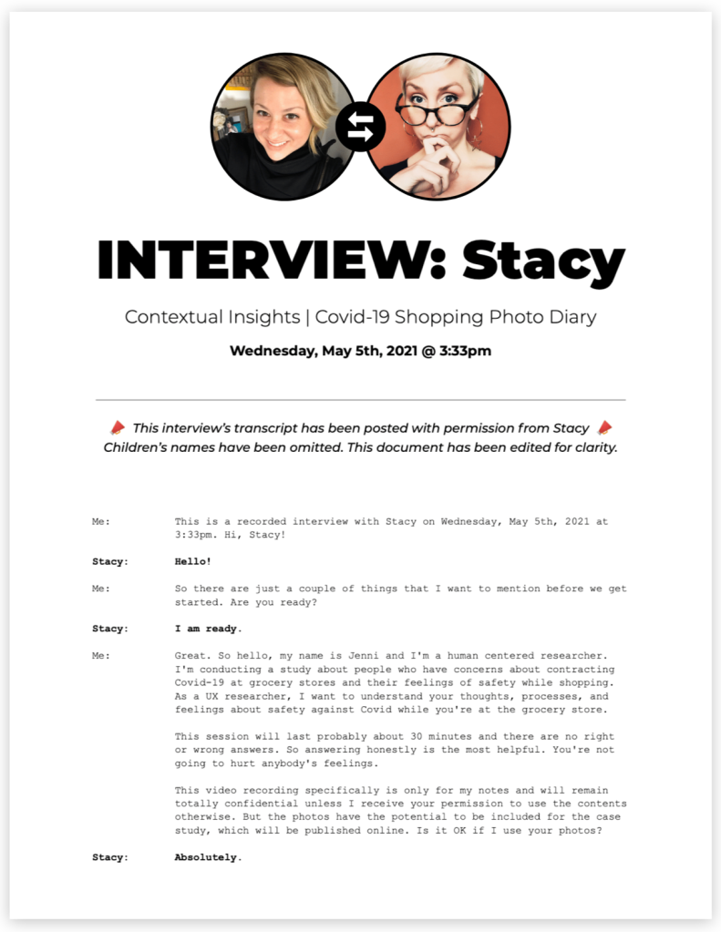 transcript of interview with Stacy, page 1