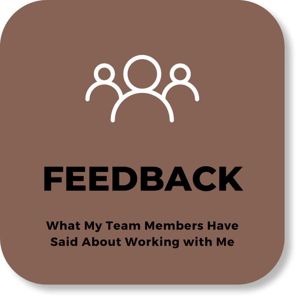 text: FEEDBACK - What my team members have said about working with me