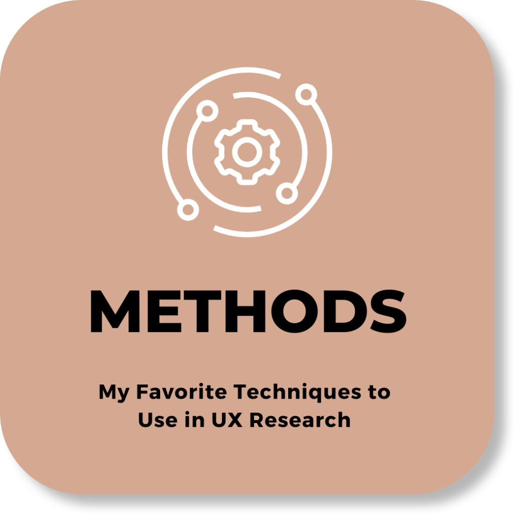 text: METHODS - My favorite techniques to use in UX Research
